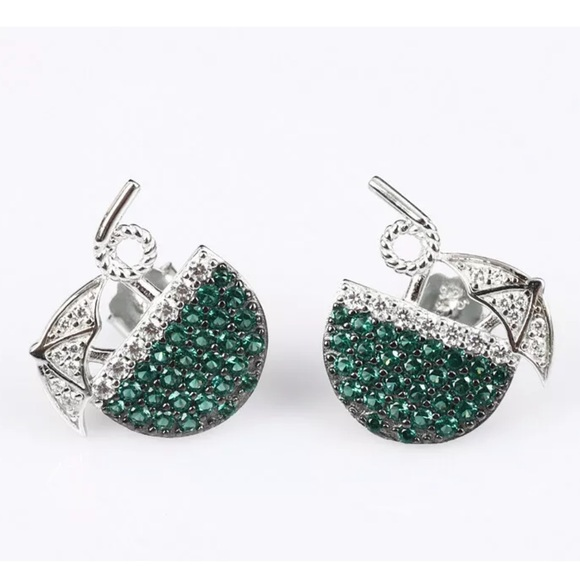 Vintage Jewelry - Sultan Ottoman Vacation Emerald Silver Earrings